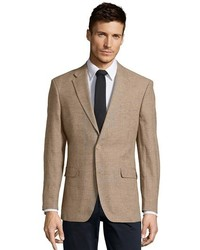 Tommy Hilfiger Tan Plaid Cotton And Linen Blend Ethan 2 Button Blazer