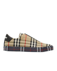Burberry Beige Contrast Check Markham Sneakers