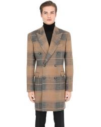 Trussardi Plaid Brushed Linen Camel Coat