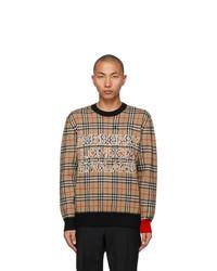Burberry Beige Jacquard Check Logo Sweater