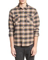 Tan Plaid Flannel Long Sleeve Shirt
