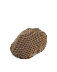 Jaxon Hats Pure Wool Houndstooth Fleetwood Flat Cap Tan Mix