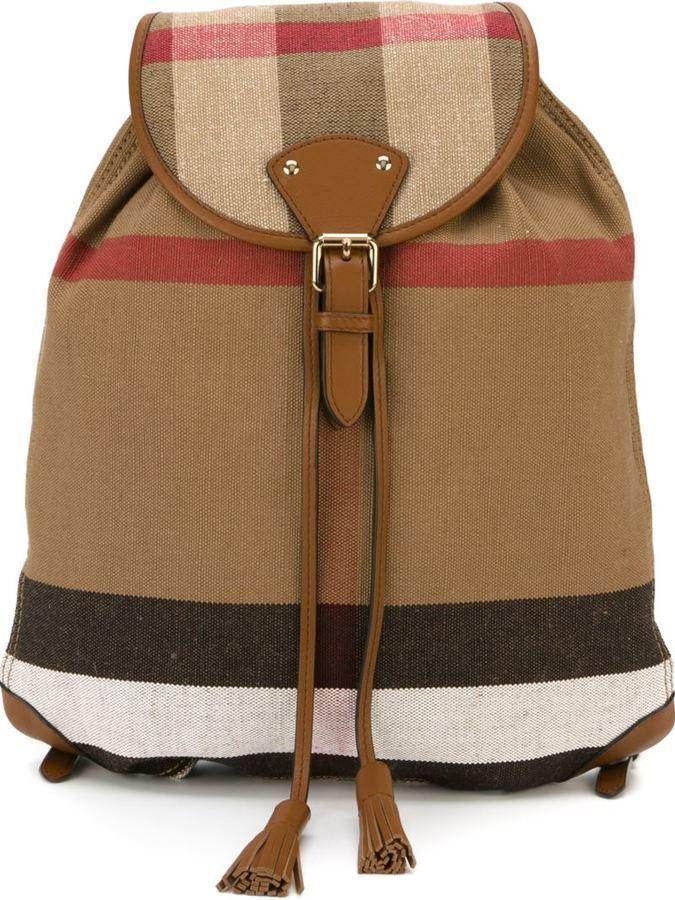 c588a0a6f1d Burberry Checked Backpack, $667   farfetch.com   Lookastic.com