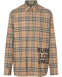 Burberry Logo Print Check Cotton Oversized Shirt