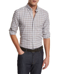Ermenegildo Zegna Plaid Woven Sport Shirt Brown