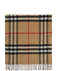 Burberry Beige And Black Cashmere Giant Check Scarf