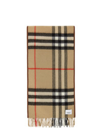 Burberry Brown And Beige Cashmere Quilted Scarf