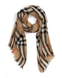 Burberry Check Merino Wool Cashmere Scarf