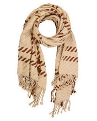 Cashmere knitted plaid scarf tanbrown medium 1211290