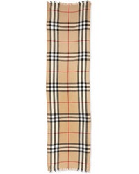 Burberry Cashmere Wool Blend Crinkle Scarf Camel