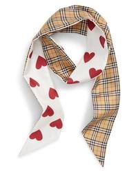 Burberry Heart Check Silk Skinny Scarf