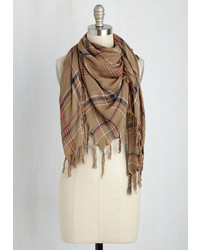 Look By M Plaid News Travels Fast Scarf In Tan
