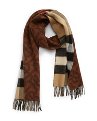 Burberry Monogram Check Reversible Cashmere Scarf