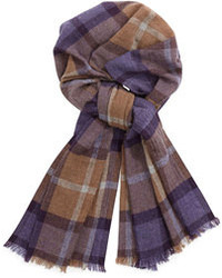 Plaid cashmere scarf purplegraytan medium 89528