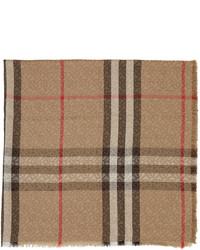 Burberry Silk Wool Lightweight Monogram Check Scarf