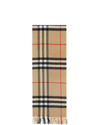 Burberry Tan Cashmere Check Giant Scarf