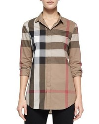Burberry Long Sleeve Button Front Check Shirt Taupe