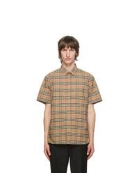 Burberry Beige Check Simpson Short Sleeve Shirt
