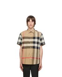 Burberry Beige Check Somerton Short Sleeve Shirt