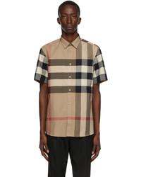 Burberry Beige Poplin Check Stretch Short Sleeve Shirt