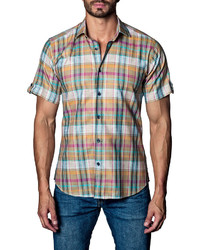 Jared Lang Plaid Short Sleeve Sport Shirt Orange Pattern
