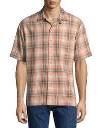 Arizona Short Sleeve Plaid Button Front Shirt