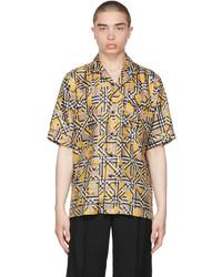 Burberry Yellow Silk Logo Vintage Check Short Sleeve Shirt