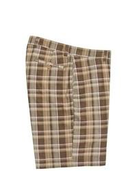 Berle Vintage 1946 Cotton Plaid Shorts Brown