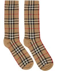 Burberry Beige Intarsia Check High Socks
