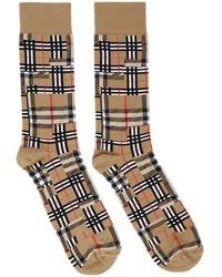 Burberry Beige Intarsia Patchwork Socks