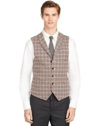 Brooks brothers tan plaid vest medium 95631