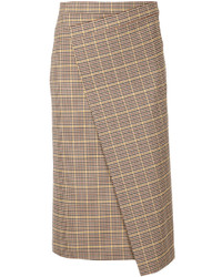 ASTRAET Astrt Plaid Pencil Wrap Skirt