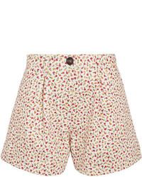 Pleated floral print denim shorts beige medium 5084319