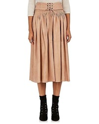 Tan Pleated Midi Skirt