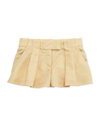 Chloé Pleated Twill Shorts Sand Sizes 6 10 Chloe