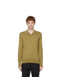 Loro Piana Green Buttonless Long Sleeve Polo