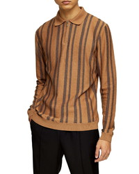 Topman Stripe Long Sleeve Zip Polo