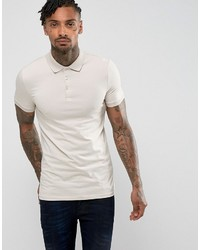 Asos Extreme Muscle Polo In Jersey In Beige