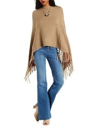 Charlotte Russe Asymmetrical Fringe Poncho Sweater