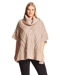 Cliche Plus Size Cowl Neck Cable Knit Poncho Tan Clich