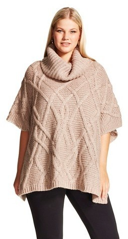 Cliche Plus Size Cowl Neck Cable Knit Poncho Tan Clich Where To