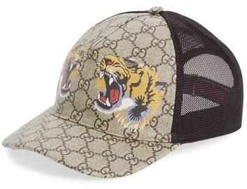 ... Gucci Tiger Logo Print Baseball Cap ... 84018bb68e0