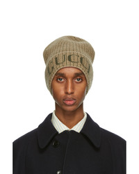 Gucci Beige And Green Wool Check Beanie