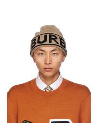Burberry Beige Knit Cashmere Logo Beanie