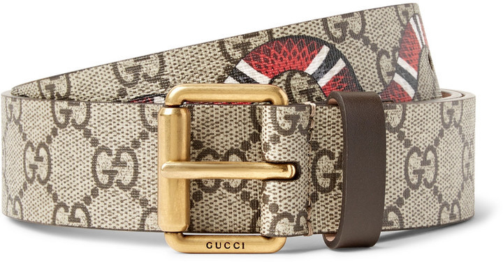 e72ee7ee5 Gucci 3cm Printed Coated Canvas Belt, $370 | MR PORTER | Lookastic.com