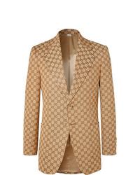 Gucci Beige Slim Fit Logo Jacquard Cotton Blend Suit Jacket