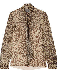 RED Valentino Redvalentino Pussy Bow Leopard Print Silk Crepon Blouse Leopard Print