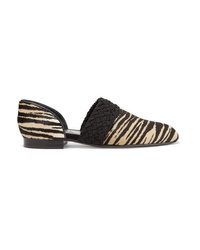 Loewe Flex Dorsay Braided Tiger Print Calf Hair Loafers