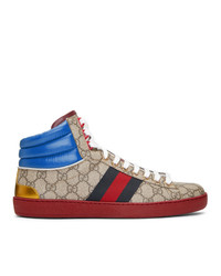 Gucci Beige Gg Ace High Top Sneakers