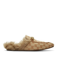 Gucci Beige And Brown Canvas Gg Princetown Loafers